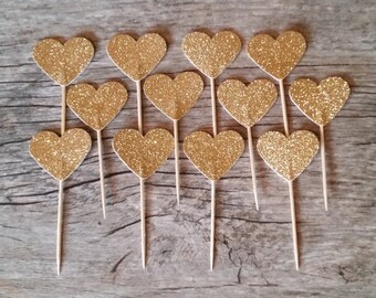 12 Gold Heart Cupcake Toppers
