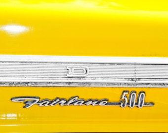 Ford Fairlane 500 Lettering Yellow Car Photography, Automotive, Auto Dealer, Classic, Car, Mechanic, Boys Room, Garage, Dealership Art