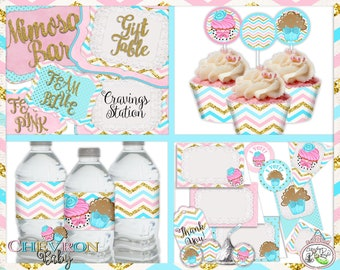 Chevron Baby-FULL Party Printables-Plain & Theme-Cupcake or Stud Muffin-Shabby Chic Parties-Gender Reveal Party-Baby Shower-Baby Luncheon