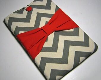 Macbook Air Case, Macbook Air Cover, Macbook 12 inch Case, 11 Inch Macbook Air Case, Laptop Sleeve, Gray Chevron W/ Red Bow