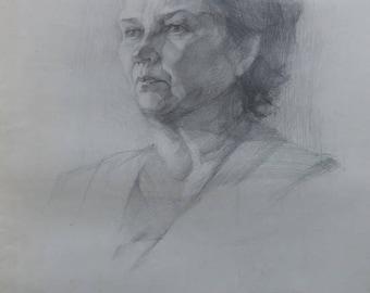 Original  Drawing Academical  Drawing Vintage  DarkTone Picture Pencil Paper Gift Portrait Party worker Communist