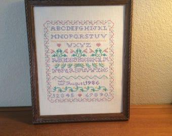 Finished Framed Alphabet Sampler, Pastel ABCs,  Cross Stich Sampler, Nursery Decor