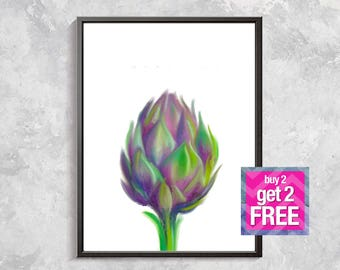 Artichoke Print, Artichoke Watercolor Art, Floral Print, Botanical Decor, watercolor flowers, nature wall decor, Artichoke Digital download