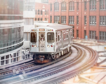 Chicago Train Print | Wall Art Prints | Brown Line | L Train Decor | Chicago Photography | Urban Decor | Boys Room Art | Office Wall Decor