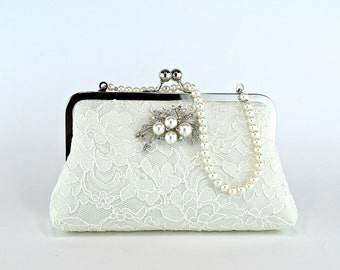 Silk Lace Clutch with Brooch, Bridal clutch, Wedding purse, Wedding clutch