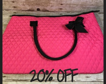 SALE***20% OFF***Pink/Black Quilted Large Tote Travel Bag Work Purse Suitcase Airplane Kids Toddlers Children College School