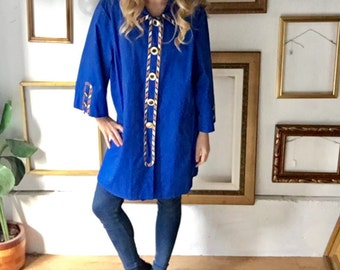 Vintage Bob Makey Blue Coat with Gold Red Details - 3x - Free Ship