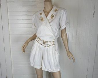 1990s White & Gold Romper- Jewels + Studs- 80s / 90s Vintage - Club- Medium- Club Kid-- Denim Shorts Playsuit- Metallic Metal