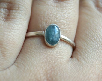 Solitaire Ring w Sky Blue Tourmaline Ring - Sterling Silver Ring US7 3/4 - Blue Gemstone Ring - Tourmaline Ring