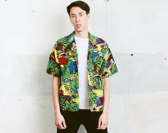 Novelty Print Summer Shirt . 90s Vintage Men's Short Sleeve Novelty Print 90s Shirt Summer Shirt . size Medium M