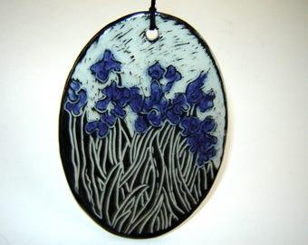 Painted Iris Ornament – purple flowers – sgraffito pottery - floral decoration – black and white – fine art ceramics – Goldhawk Pottery