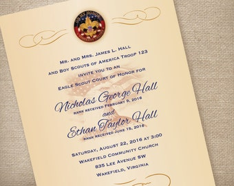 Eagle Scout  Invitation for Court of Honor/ On my Honor