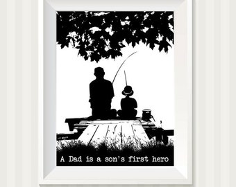 Fishing on the Dock Father and Son A Dad Is A Sons First Hero Digital Art Print
