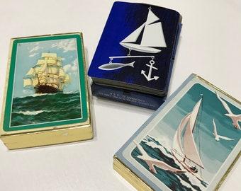 Set of 3 Single Playing Cards Nautical Ships Sailing Ocean