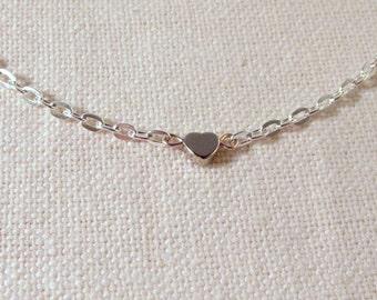 Silver Heart Bracelet, Cute Dainty Bracelet, Modern Simple Jewelry