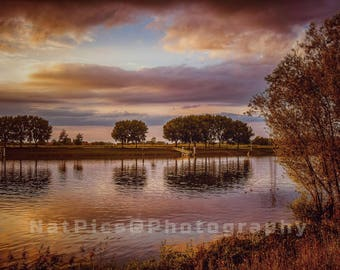 Sunset at the river, Steyl, Netherlands, Sundown, Reflections, dramatic sky, landscape, Landscape, reflections, sunset, River