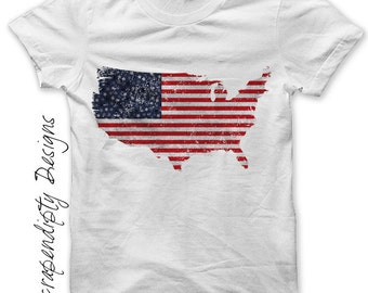 USA Iron on Transfer - Iron on Fourth of July Shirt / 4th of July Outfit / United States Grunge Tshirt / Boys Red White and Blue DIY IT431