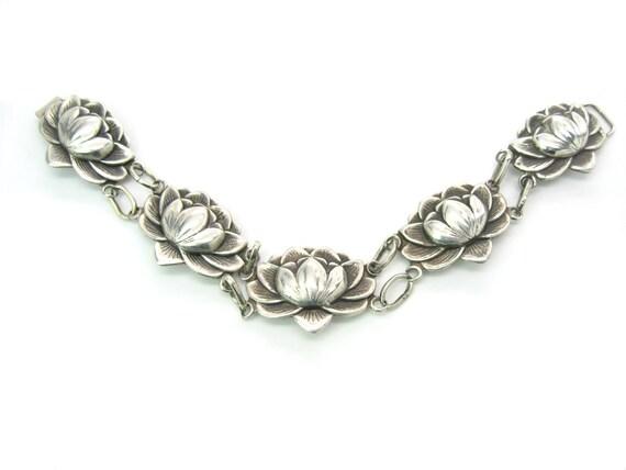 Vintage Danecraft Felch Co Sterling Silver Water Lily Bracelet