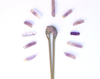 Amethyst Hair Stick    Hair stick, gypsy, bohemian, hair accessories, festival