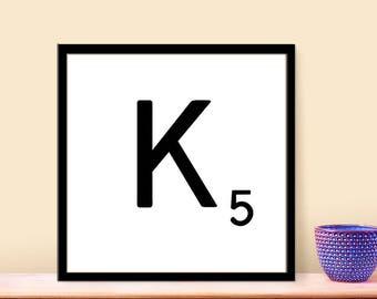 Printable Art - Digital Scrabble Letter - DIY Prints - Home Decor Personalized - Instant Download Art - Printable Letter K