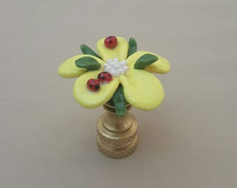 Butter Flower with Lady Bugs Lamp Finial...Hand Crafted to Order