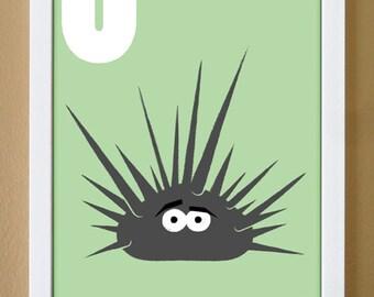 alphabet letter U, urchin, custom colors, children's letter art, nursery decor, undersea nursery, 4X6, 5X7, 8X10
