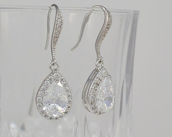 Bridal Cubic Zirconia Tear Drop Earrings, Wedding Jewelry, Ear Wire, Silver, Rose Gold, Yellow Gold, Aria - Will Ship in 1-3 Business Days
