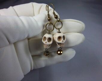 Skull Earrings, Ivory Skulls, Dangles, Skull with Sparkles, Gothic Earrings