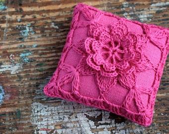 Linen  pincushion - crochet motif --fuchsia