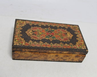 Vintage handmade and handpainted box for jewelry