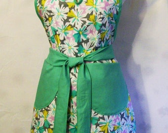 Handmade Woman's Floral Aqua Green Full Apron, Kitchen Serving Apron, Gift for Mom, Made in the USA,  #46A