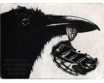 Raven artwork , Raven, crow , Aquatint Etching 5 x 7inch 2010