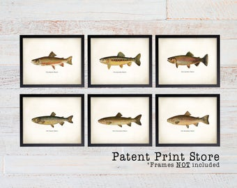 Vintage Trout Print Set. Fish Art. Fish Print. Fathers Day Gift. Gift for Men. Wall Art. Fish Print. Trout. Fly Fishing Art. Angler Art. 147