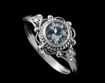 Aquamarine Engagement Ring, Victorian Style Ring, Bezel Diamond Engagement Ring, Filigree Twisted Design Ring, Color Stone White Gold Ring