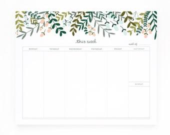 Weekly Planner Notepad, Illustrated Weekly Desk Notepad, Mousepad Planner Notepad | Garden Wreath Collection