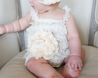 Baby girl romper - infant flower girl outfit- petti lace romeprs - toddler lace rompers - flower girl outfit - posh peanut - little girls