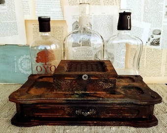 Vintage mens valet box, unique rust finish, ooak, gift for him, industrial storage, mens watch stotage