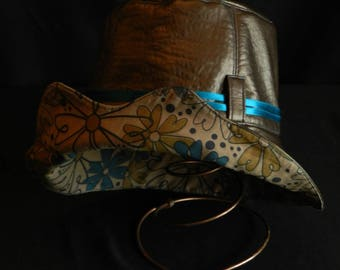 Bronze leatherette rain hat.