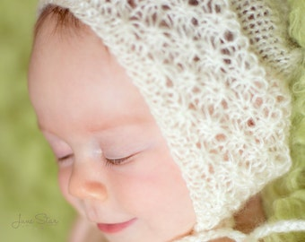Off White Baby 3 Months Bonnet , Baby lace knit Bonnet ,Baby Girl bonnet