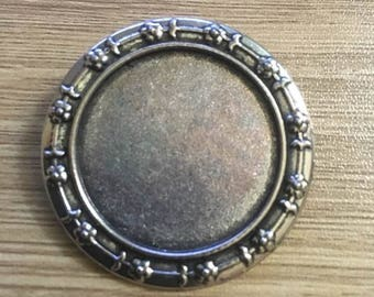 set of 2 support PIN-brooch silver 30 mm cabochon