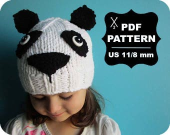 English-French Two Needle KNITTING PATTERN / Digital Download / #44 / Knitted Panda Hat / 6-16M to 5 years-Adult / US11 / 8mm