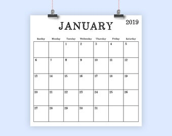 Square 2019 Calendar Template | INSTANT DOWNLOAD | Old Vintage Serif Large Monthly Printable Minimal Desk Calender | Prints + 12 x 12 Inches