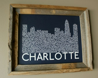 Charlotte Skyline Word Art Print (Dark Blue) - Unframed