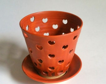 Paprika or Orange Orchid Pot with  Heart Shaped Air Vents and a Matching Drip Saucer  - Make Your Orchid Happy! - Wheel Thrown Pottery