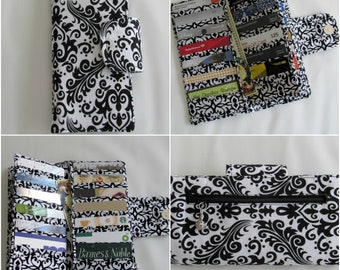 Bifold Card Wallet, Bifold Women Wallet, women's wallet, Card Organizer Wallet, 38 slots, Card Wallet, Credit Card Wallet, Purse Coin Damask