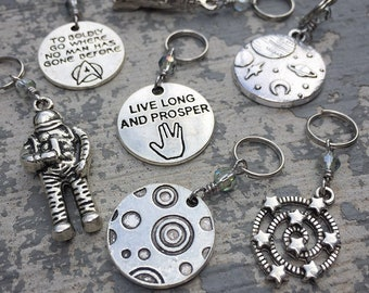 Boldly Go: Set of 7 Space Themed Star Trek Inspired Stitch Markers for Knitters & Crocheters