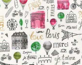 Robert Kaufman Paris Adventure Fabric Cotton Fabric Robert Kaufman Paris Fabric Paris Theme Fabric by the yard