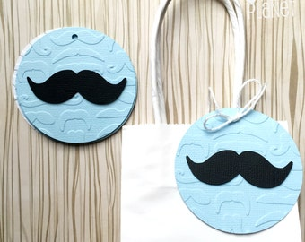 Little Man Gift Tags. Mustache black shape. Favor or Swing Tags. Embossed tags, baby boy, baby shower, 1st birthday party. Blue and white.