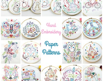 Paper Embroidery Patterns. Hand Embroidery Patterns. Woodland. Cute. Gift Idea. Craft gifts. Embroidery gift. Gifts under 10. Sewing pattern