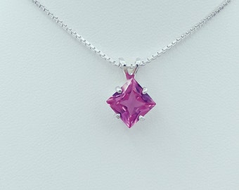Lab Pink Sapphire Pendant & Earring Set